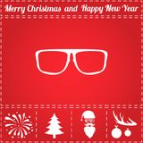 Glasses Icon Vector. And bonus symbol for New Year - Santa Claus, Christmas Tree, Firework, Balls on deer antlers Stock Photography