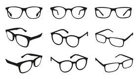 Glasses Icons - Different Angle View - Black Vector Illustration Set - Isolated On White Background vector illustration