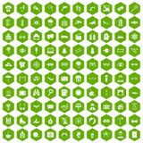 100 glasses icons hexagon green. 100 glasses icons set in green hexagon isolated vector illustration Stock Photos