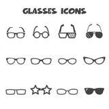 Glasses icons. Mono vector symbols royalty free illustration