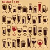 Glasses icons set. Beer glass isolated icons collection. Wine glass. Cups. stock illustration