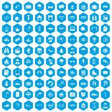 100 glasses icons set blue. 100 glasses icons set in blue hexagon isolated vector illustration vector illustration