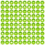 100 glasses icons set green circle Stock Photo