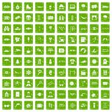 100 glasses icons set grunge green. 100 glasses icons set in grunge style green color isolated on white background vector illustration Royalty Free Stock Images