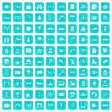 100 glasses icons set grunge blue Royalty Free Stock Image