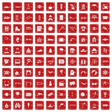 100 glasses icons set grunge red. 100 glasses icons set in grunge style red color isolated on white background vector illustration stock illustration