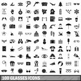100 glasses icons set, simple style. 100 glasses icons set in simple style for any design vector illustration Royalty Free Stock Photos