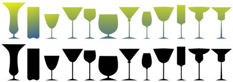 Set of colorful isolated Glasses Stock Photos