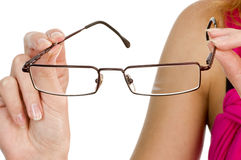 Glasses In Hand Isolated Stock Photo