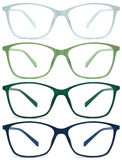 Glasses isolated on white, green, blue, color Stock Photography