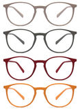 Glasses isolated on white, red, orange, grey, color Stock Images