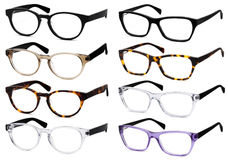Glasses isolated on white, in various colors Stock Image