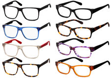 Glasses isolated on white, in various colors Royalty Free Stock Photo