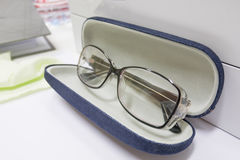 Glasses jeans case fashion Royalty Free Stock Photography