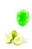 Glasses of juice, apples Stock Image