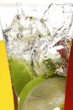 Glasses with juice and lime Royalty Free Stock Photo
