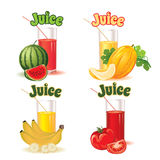 Glasses for juice from melon, banana, tomato and watermelon Stock Image