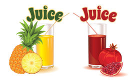 Glasses for juice from pineapple and garnet Royalty Free Stock Image