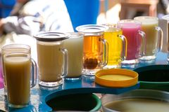 Glasses of juice in a row. From Sucre local marketplace,Bolivia Stock Photography