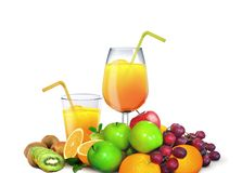 Glasses of Juices with Fresh Fruits Stock Images