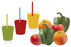 Glasses of juices -  illustration Royalty Free Stock Images