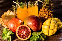 Glasses of juices. Refreshments and summer drinks. Royalty Free Stock Image