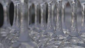 Glasses kept upside down wine on table