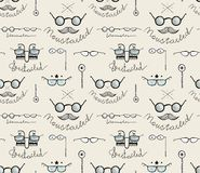 Glasses Labeles Sketchy Drawing Seamless Pattern Stock Images