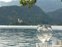 Glasses at the Lake Bled Stock Photos