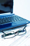 Glasses and Laptop Royalty Free Stock Photos