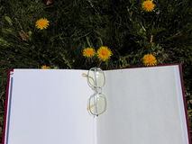 Glasses laying on open book with garden flowers in the background. Glasses laying on open book on the garden ground with yellow dandelions in the back Stock Images