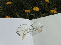 Glasses laying on open book with garden flowers in the background. Glasses laying on open book on the garden ground with yellow dandelions in the back Stock Image