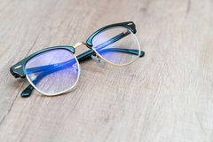 Glasses Lens light blue eye glasses. 1 royalty free stock photography