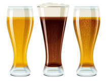 Glasses with light and dark beer Royalty Free Stock Photos