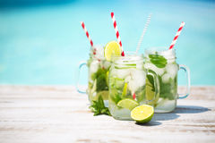 Glasses of lime lemonade near pool Stock Image