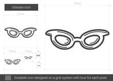 Glasses line icon. Stock Photo