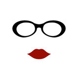 Glasses with lips. Vector illustration Royalty Free Stock Photos
