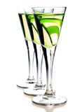Glasses of liqueur. Glasses of green liqueur (carambola liqueur Royalty Free Stock Photography