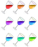 Glasses with liquids of different colors. Vector. Royalty Free Stock Image
