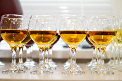Glasses with liquor on a table Royalty Free Stock Photography