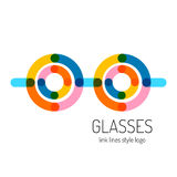 Glasses logo template. Round and straight lines. Stock Photos