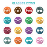 Glasses long shadow icons Royalty Free Stock Photography