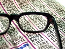 Glasses and lotery royalty free stock photography