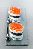 Caviar lumpfish roe. Glasses with lumpfish roe caviar Stock Photo