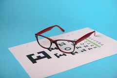 Glasses lying on snellen test chart Royalty Free Stock Photography