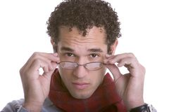 Glasses Man. Handsome young glasses man isolated Stock Photography