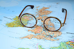 Glasses on a map of europe - Dublin Stock Images