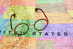Glasses on a map of USA - Colorado Royalty Free Stock Photos