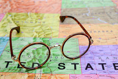 Glasses on a map of USA - Colorado Stock Photo