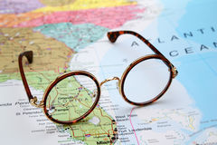 Glasses on a map of USA - Florida. Photo of glasses on a map of USA. Focus on Florida. May be used as illustration for traveling theme stock photo